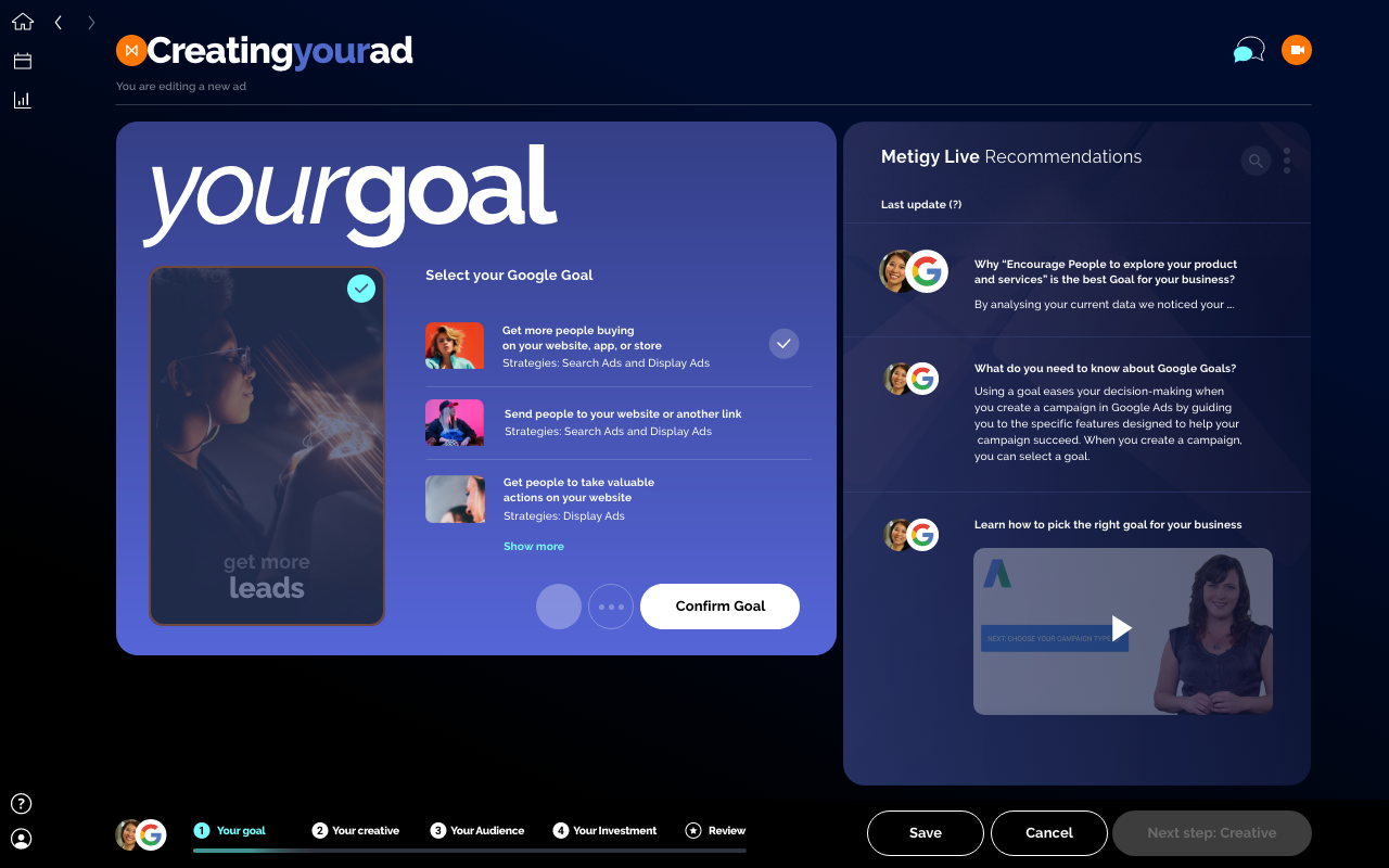 Google Ads - select your goal