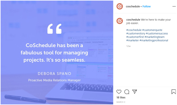 CoSchedule uses quotes from its own customers to help with its engagement across social media.