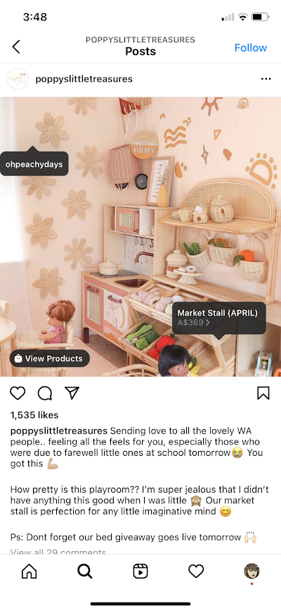 Poppy's Little Treasures uses images from its customers on Instagram.