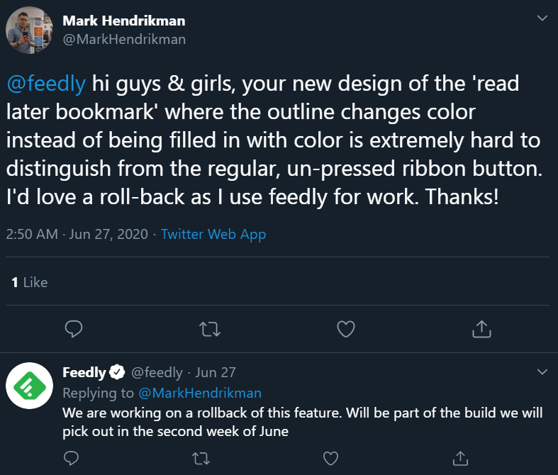 Feedly respond to its customers on social media.