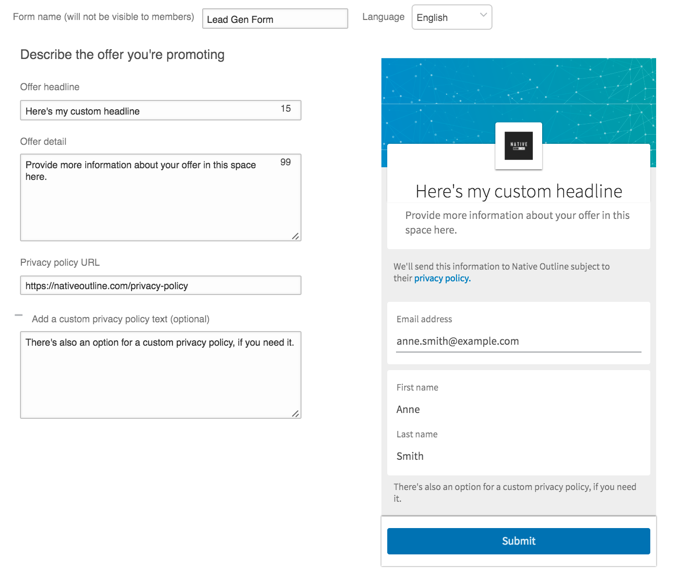 Lead generation forms are another type of LinkedIn ad.